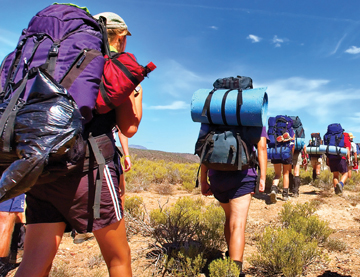 Students hiking on a school camp in Perth